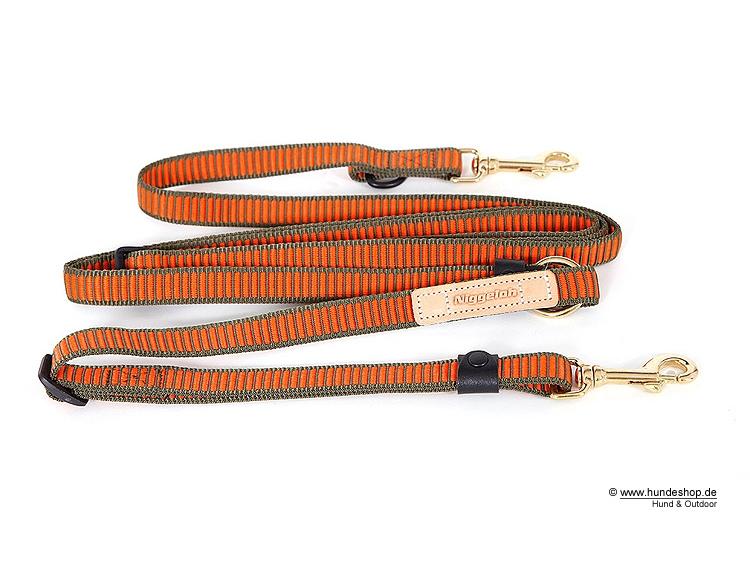 Niggeloh Hundeleine Umhängeleine DeLuxe oliv-orange 20mm