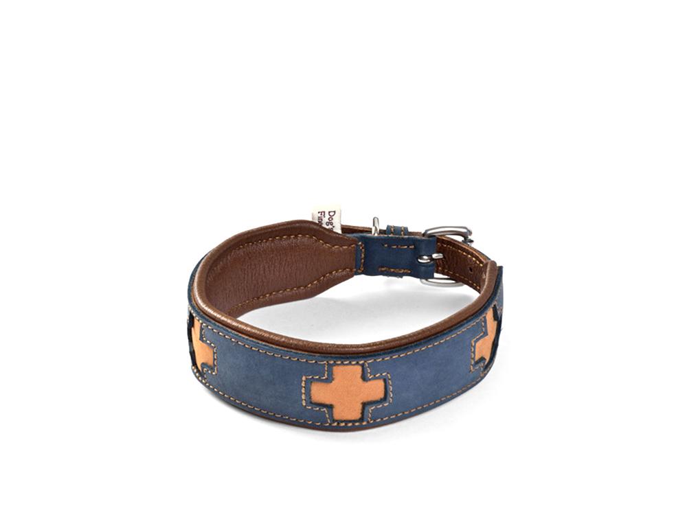Hundehalsband Nubuk- und Elchleder Schweizer Kreuz