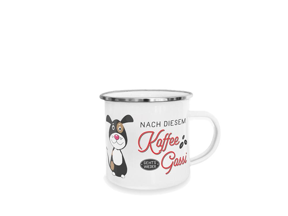 Pfotenschild Emaille-Tasse Erst Kaffee dann Gassi