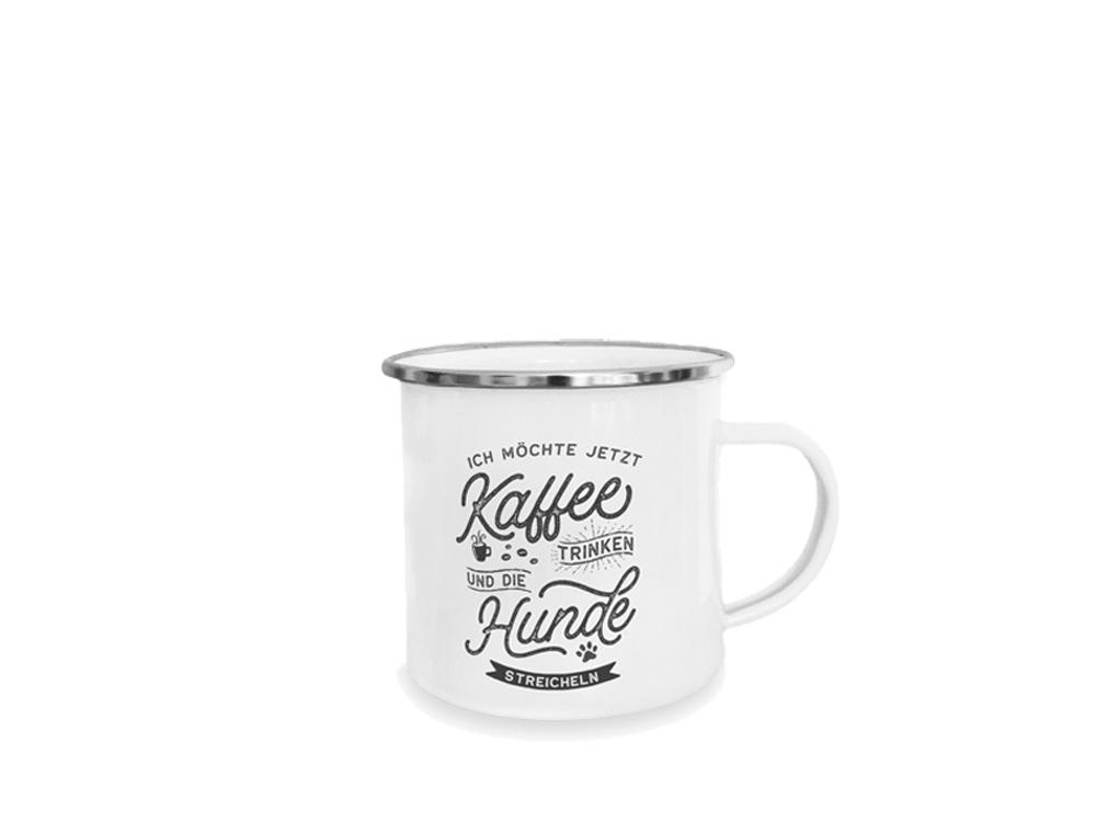 Pfotenschild Emaille-Tasse Kaffee trinken Hunde streicheln