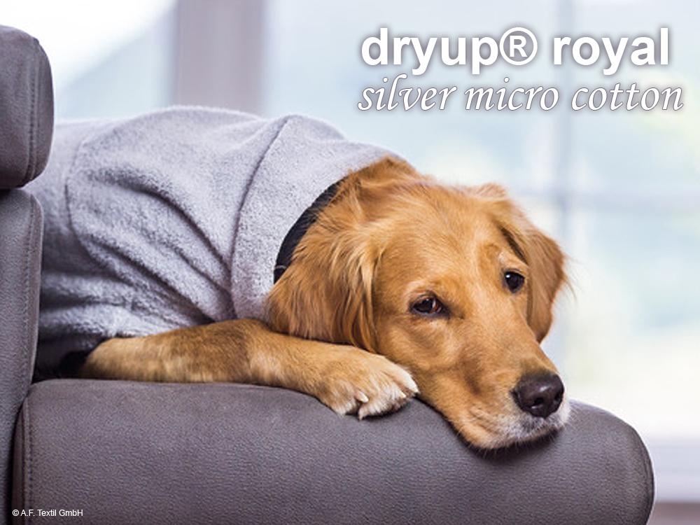 Dryup Cape Royal Hundebademantel silver micro cotton