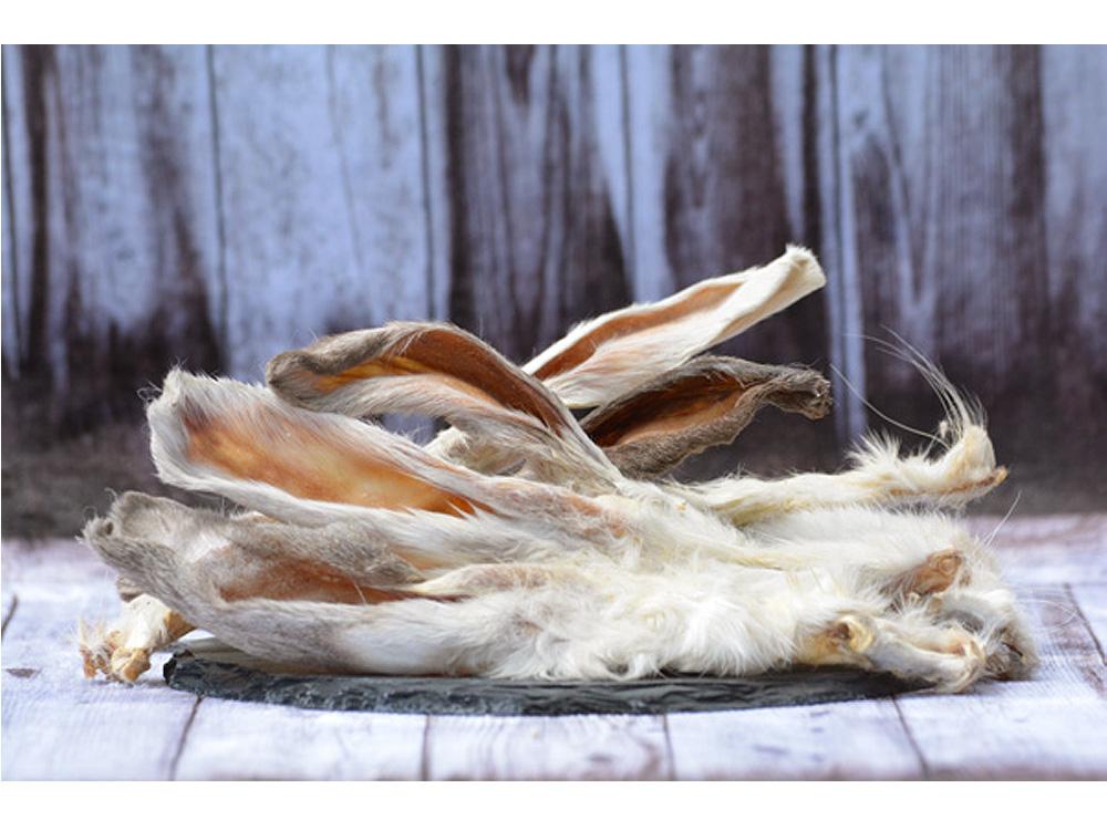 Mirals Kaninchenohren mit Fell 100 gr.