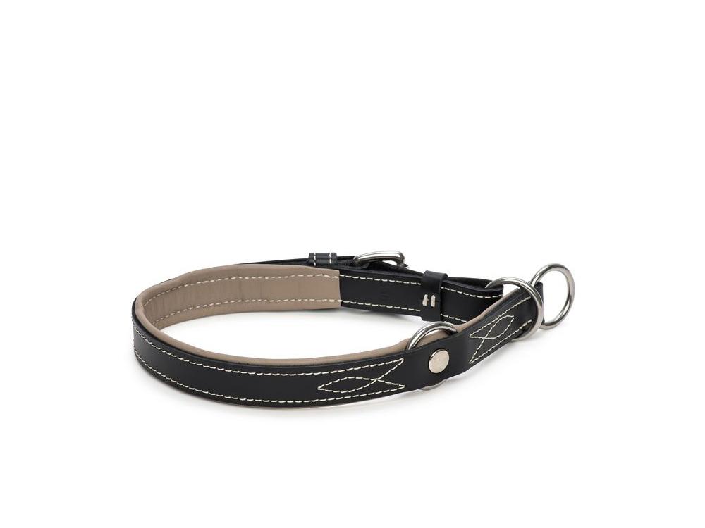 Zugstopp Hundehalsband Waldbursche schwarz/kiesel