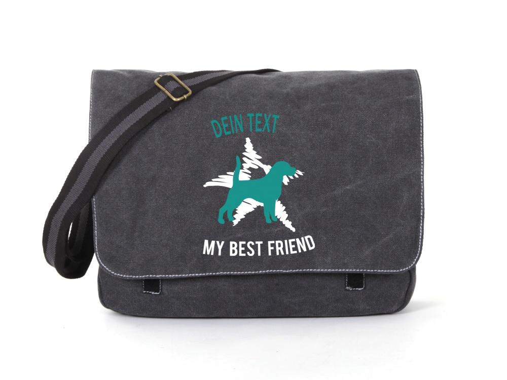 Beagle Canvas Tasche schwarz Dog Star