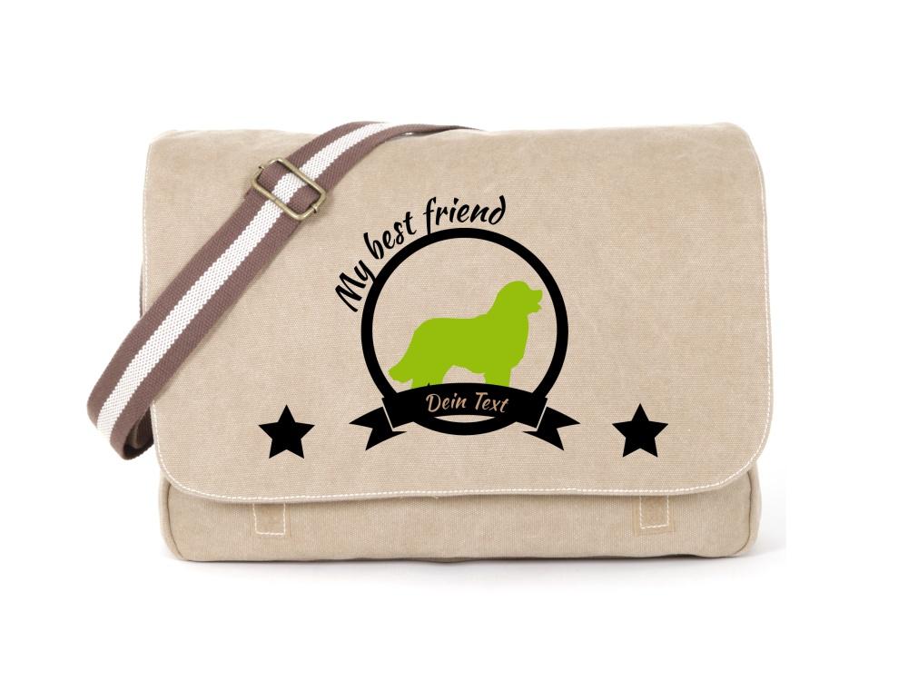 Berner Sennenhund Canvas Tasche sahara