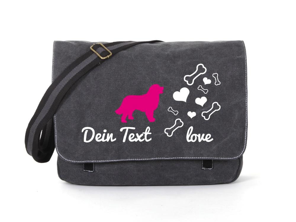 Berner Sennenhund Canvas Tasche schwarz Bones & Hearts