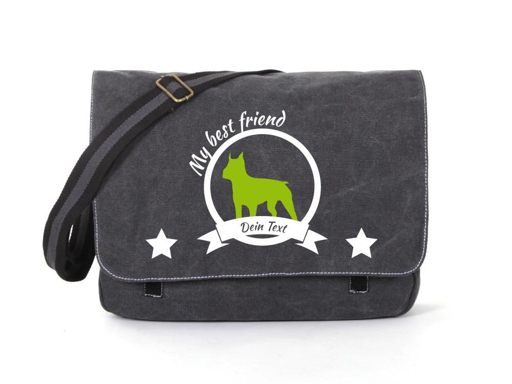 Boston Terrier Canvas Tasche schwarz