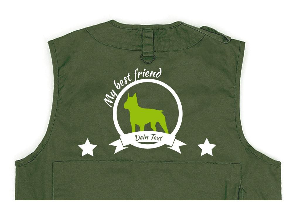 Boston Terrier Hundesport Weste oliv Best Friend
