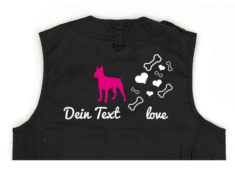 Boston Terrier Hundesport Weste schwarz Bones & Hearts