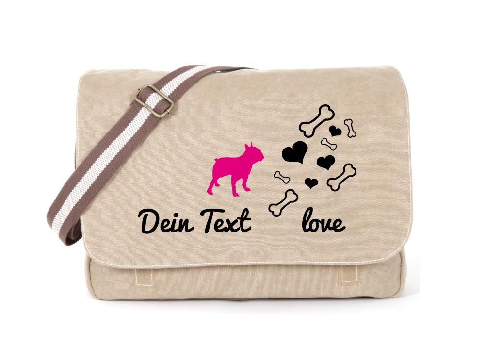 Bulldogge Canvas Tasche sahara Bones & Hearts
