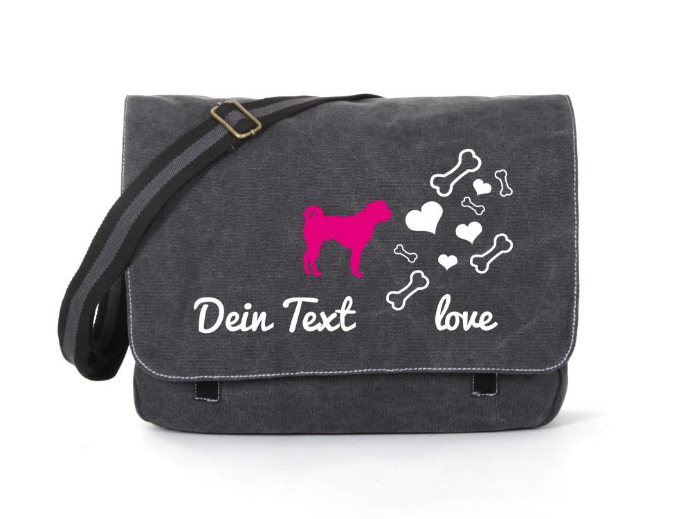 Bullmastiff Canvas Tasche schwarz Bones & Hearts
