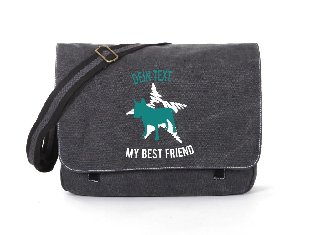 Bullterrier Canvas Tasche schwarz Dog Star