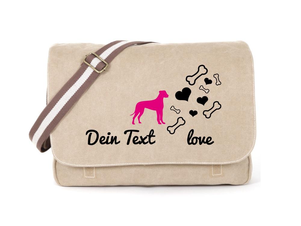 Deutsche Dogge Canvas Tasche sahara Bones & Hearts
