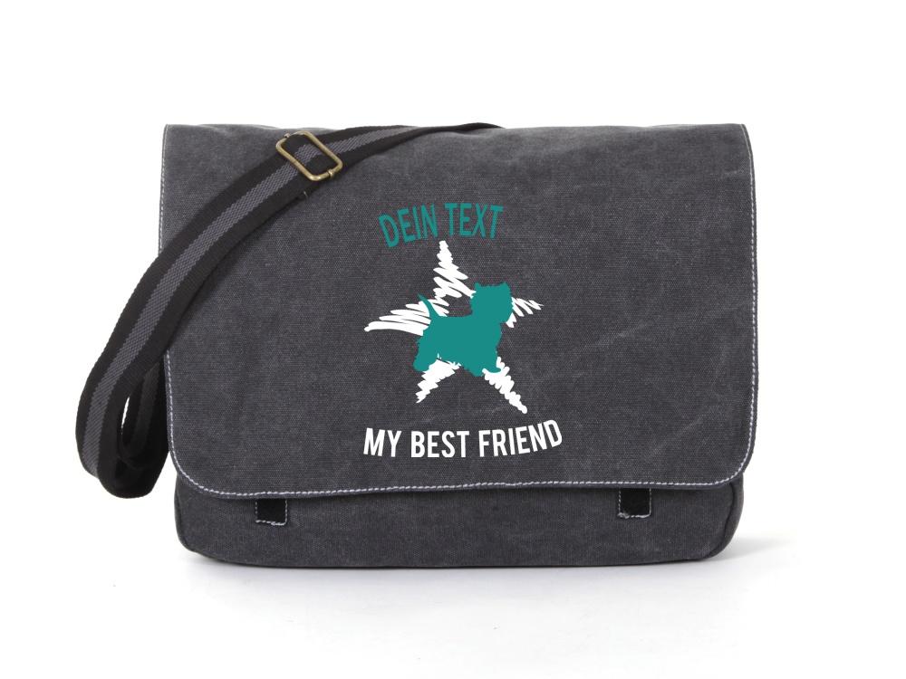Malteser Canvas Tasche schwarz Dog Star
