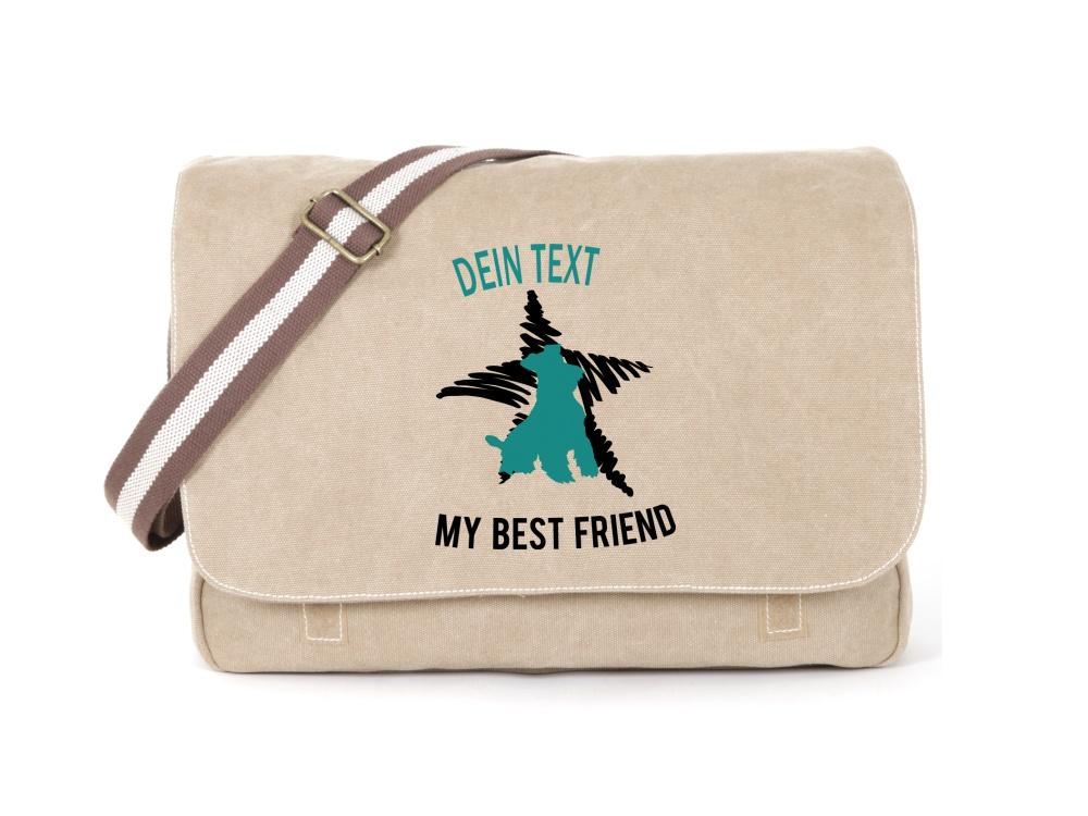 Schnauzer Canvas Tasche sahara Dog Star