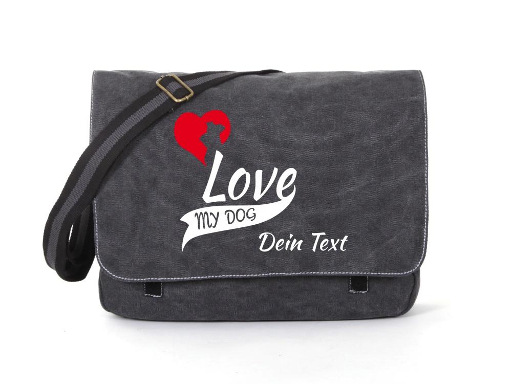 Schnauzer Canvas Tasche schwarz My Dog Love