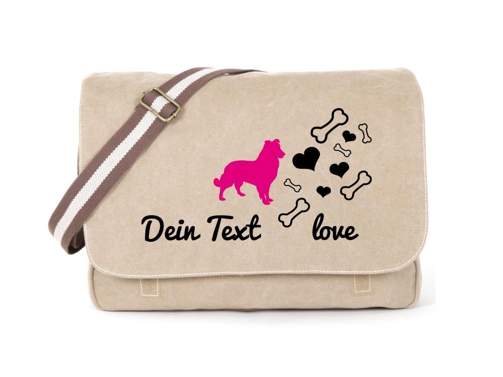 Sheepdog Canvas Tasche sahara Bones & Hearts