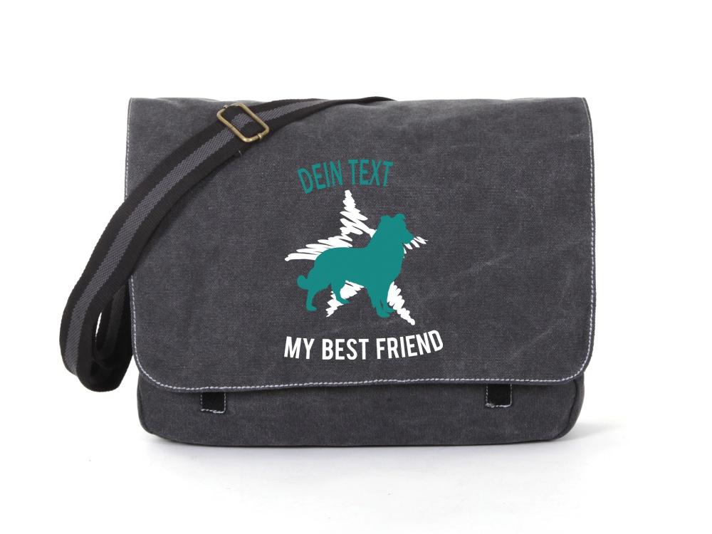 Sheepdog Canvas Tasche schwarz Dog Star