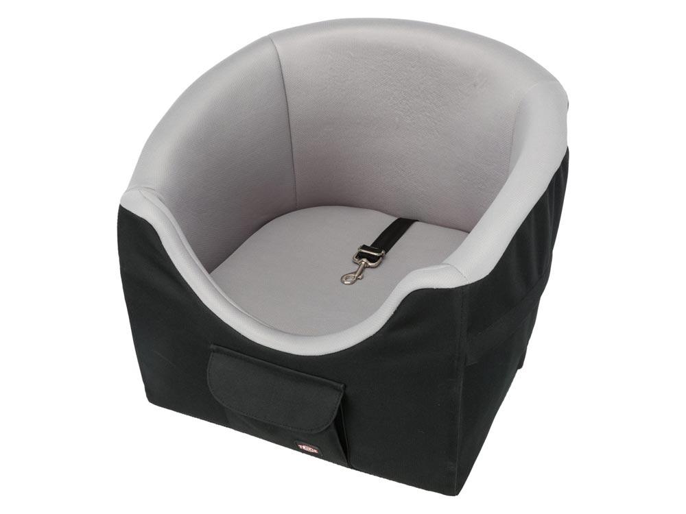 Autositz Deluxe für kleine Hunde schwarz/grau