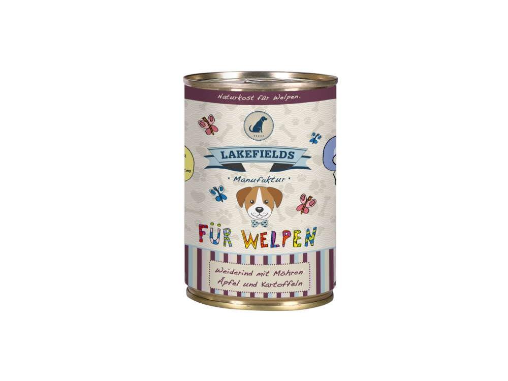 Lakefields Dosenfleisch-Menü Weiderind für Welpen