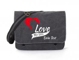 Akita Canvas Tasche schwarz My Dog Love