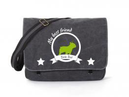 Bulldogge Canvas Tasche schwarz