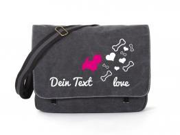 Westhigland Terrier Canvas Tasche schwarz Bones & Hearts