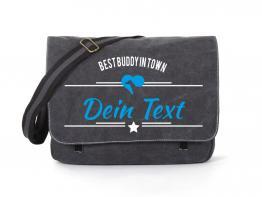Windhund Canvas Tasche schwarz Best Buddy