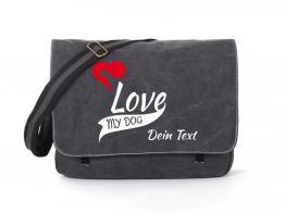 Windhund Canvas Tasche schwarz My Dog Love