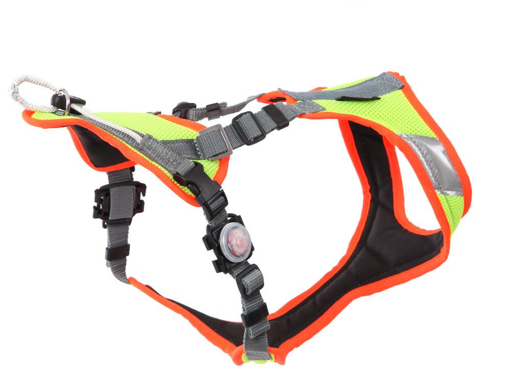 Grossenbacher Mantrailing V Hundegeschirr m. Laufrolle Neon LED