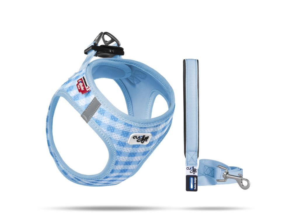 Curli Welpengeschirr Air-Mesh mit Leine blau