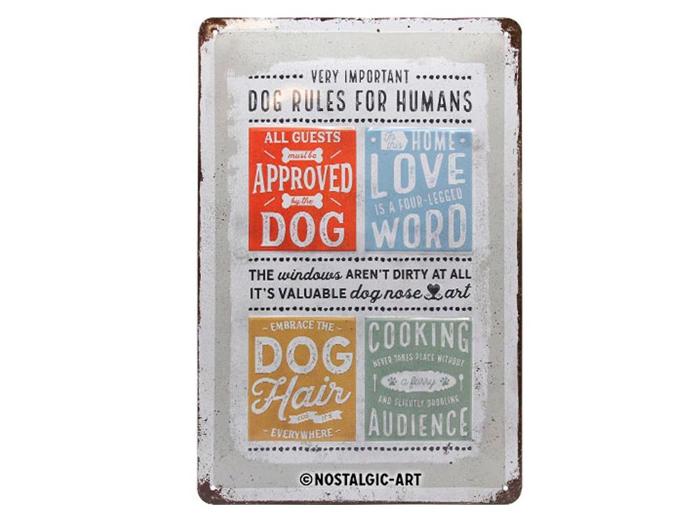 Pfotenschild Dog Rules 20x30 cm