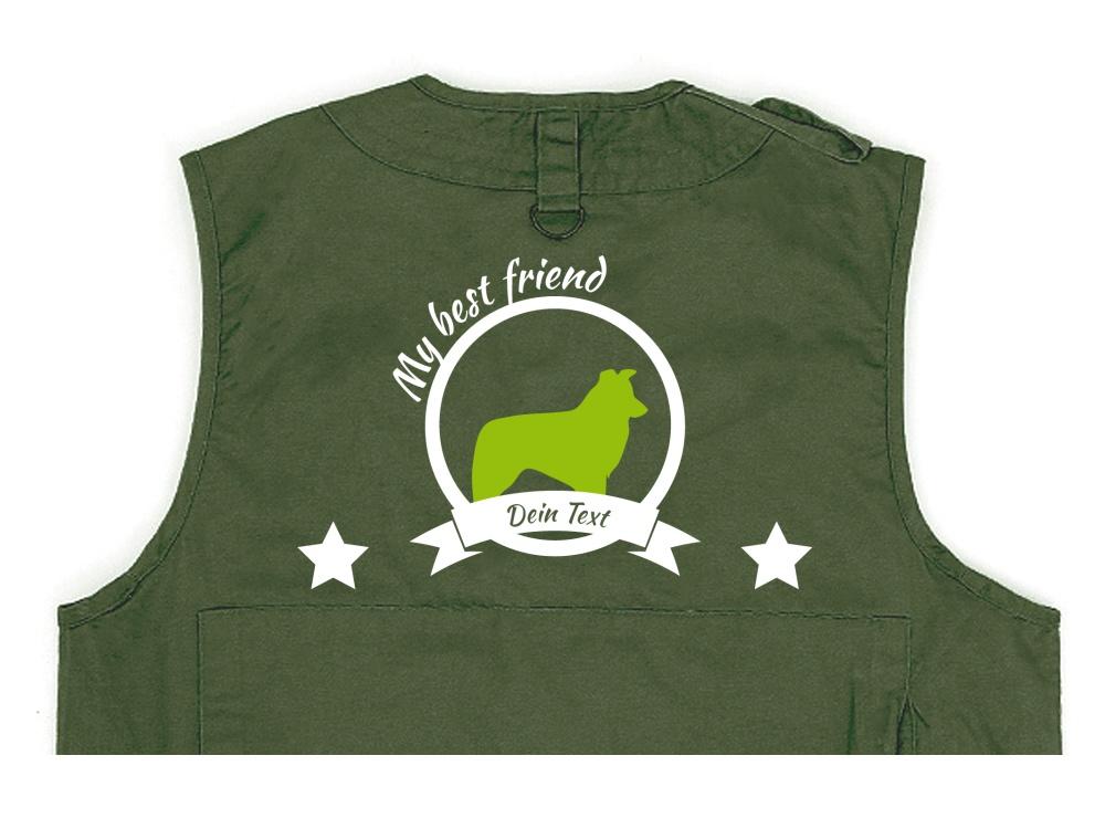 Border Collie Hundesport Weste oliv Best Friend