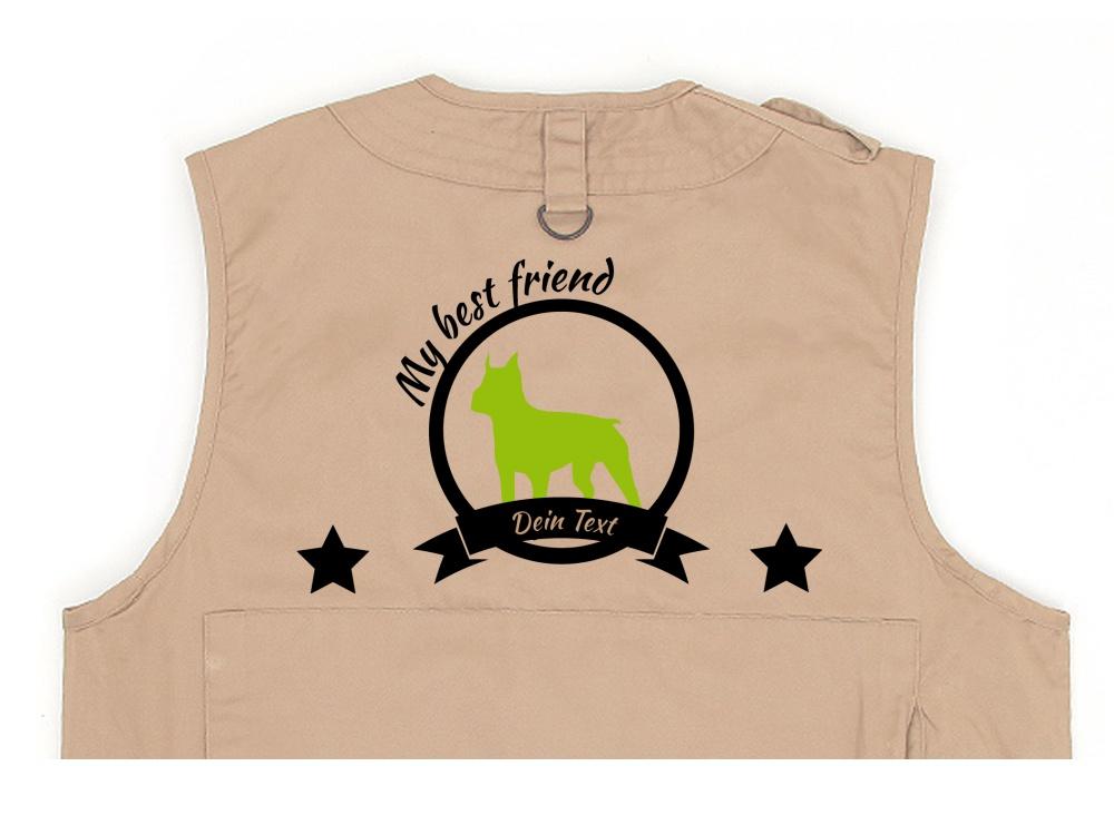 Boston Terrier Hundesport Weste khaki Best Friend
