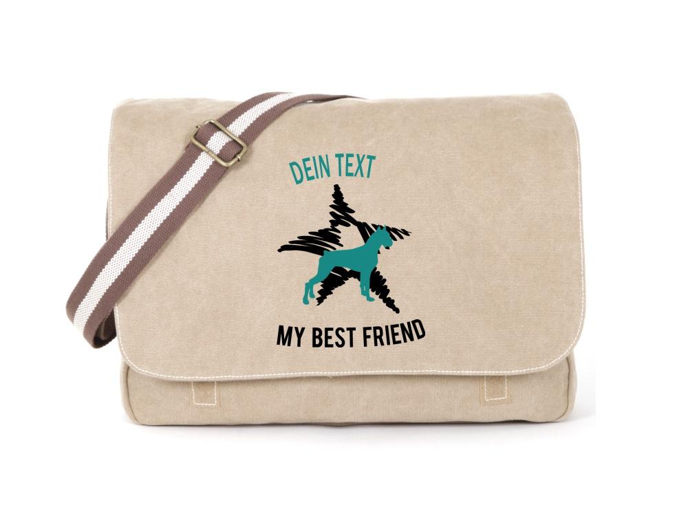 Boxer Canvas Tasche sahara Dog Star